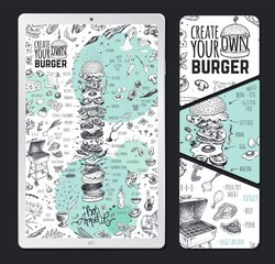 Burger menu design template on tablet pc for restaurant and cafe. Vintage hand drawn doodle cooking icons for infographic on white background. Vector hipster sketch style illustration of hamburger