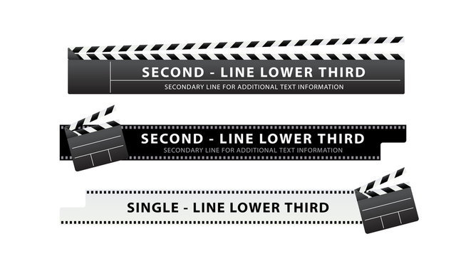 Vector  lower third or television news bar design template with clapperboard and movie film theme isolated on white background