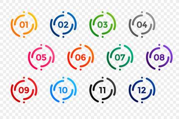 stylish one to twelve bullet points number set Fotomurales