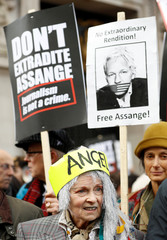 Protest against Julian Assange's extradition in London