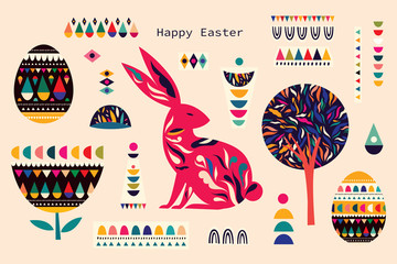 Fototapete - Colorful illustration with hare and easter eggs. Happy easter greeting card with decorative easter bunny