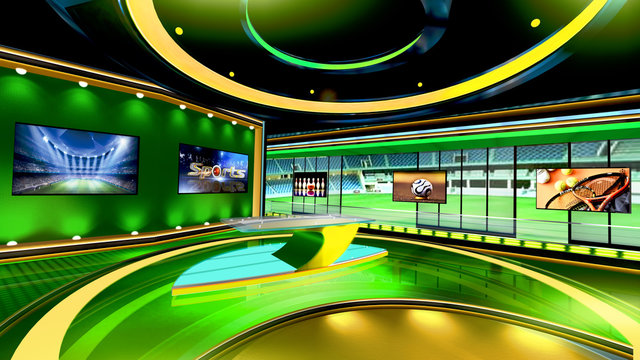 Sports 3D rendering background is perfect for any type of news or information presentation