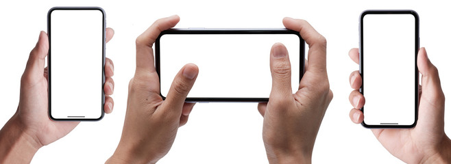 Hand holding the black smartphone iphone with blank screen and modern frameless design in two rotated perspective positions - isolated on white background - Clipping Path Wall mural