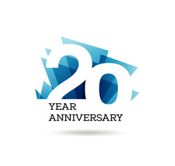 Obraz 20th years anniversary label for celebration of company - fototapety do salonu