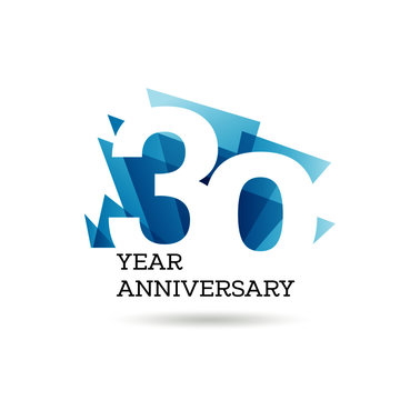 30th years anniversary label for celebration of company