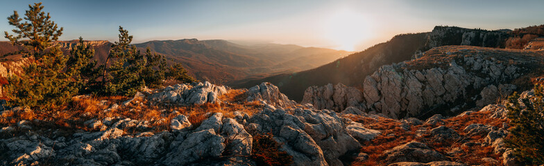 Mountain autumn landscape panorama at sunrise