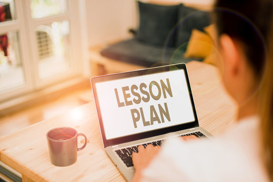Writing note showing Lesson Plan. Business concept for a teacher s is detailed description of the course of instruction