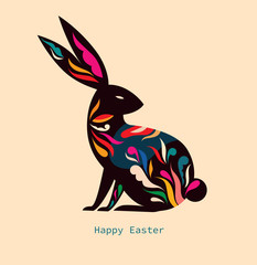 Fototapete - Happy easter greeting card with decorative easter bunny