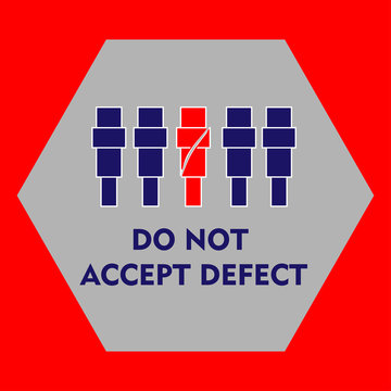 lean manufacturing icon, golden rulls, quality concept. Vector illustration. Sign do not accept defect