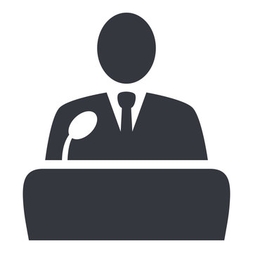 Vector Politician Icon - Man in Suit in front of Microphone