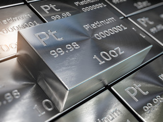 Platinum bars or ingots background. Precious metals.