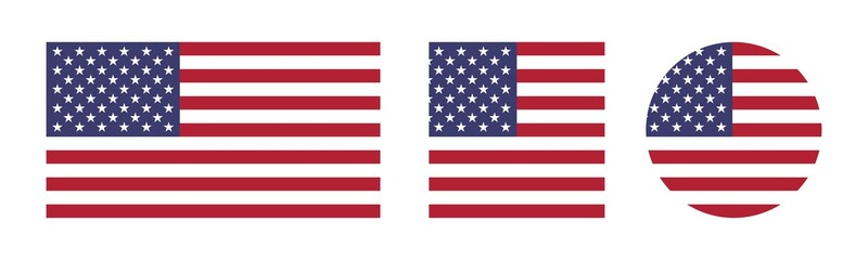 America Flags Vector Set - National Flag of USA with square and circle icon isolated on white background
