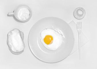 Deurstickers Gebakken Eieren a plate with white food only, ideal breakfast