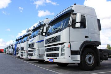 Row of Volvo Trucks. lllustrative Editorial Content.
