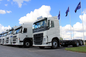 White Volvo Trucks on Display. Illustrative Editorial content.
