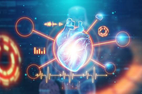 Hologram of a heart with different vital signs, cardiogram, blue background. The concept of heart transplantation, heart disease, stroke, medicine. 3D illustration, 3D render.