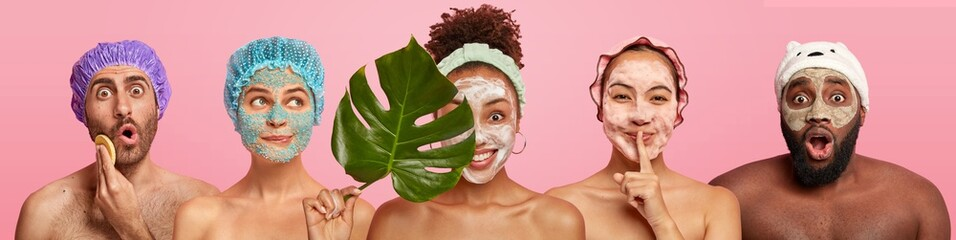 Printed roller blinds Spa Collage of women and men care about complexion, apply facial masks, stand with bare shoulders, stand against pink background. Beauty treatment, grooming and wellbeing concept. Set of people.