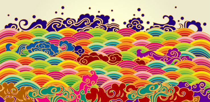 Colorful sea wave pattern background