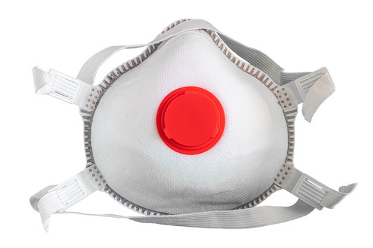 Covid-19 mask with breathing valve isolated on white background