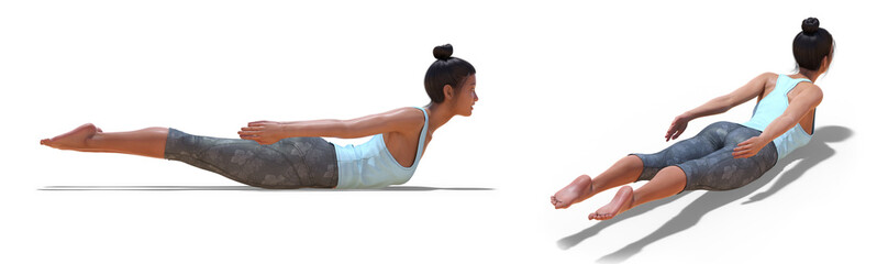 Back and Right Profile Poses of a virtual Woman in Yoga Locust Pose