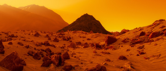 Photo sur Aluminium Rouge traffic a stony desert on the red planet mars (3d rendering)