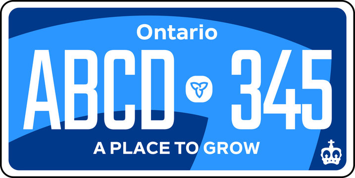vehicle licence plates marking in Ontario in United States of America