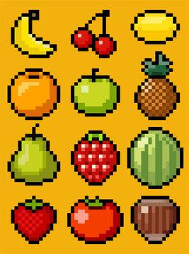 Vector pixel art fruit collection