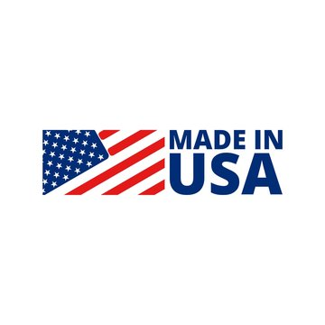 Made in USA badge with american flag. Made in USA banner isolated on white background