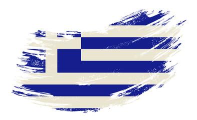 Greek flag grunge brush background. Vector illustration.