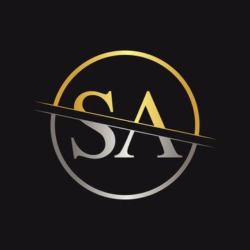 Initial Letter SA Logo Design Vector Template. SA Letter Logo Design