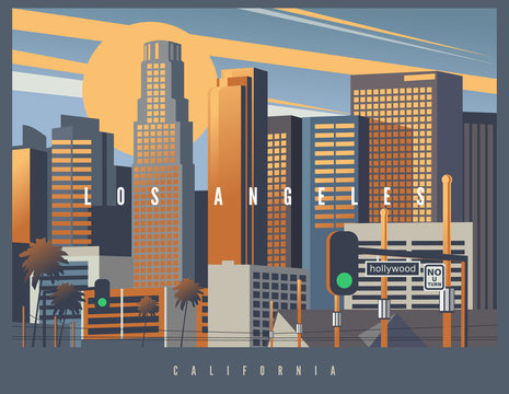 Cityscape of Los Angeles during the golden hour, vector illustration. Stylized skyline LA, California, USA