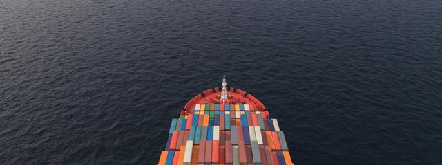 Foto auf Leinwand Rotterdam 3D Illustration of a container ship. International transportation