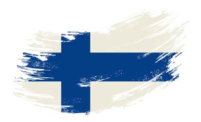 Finnish flag grunge brush background. Vector illustration.