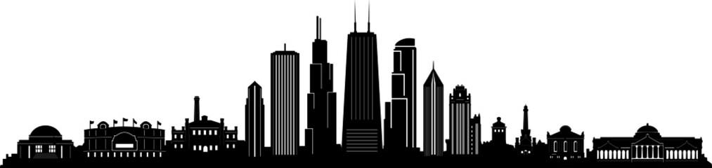 Fototapete - Chicago City Skyline Cityscape Outline Silhouette Vector