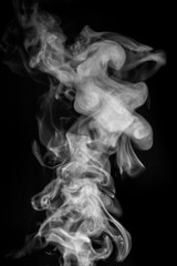 Wall Murals Smoke Smoke or steam on black isolated background for insertion image in overlay mode_