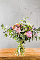 spring bouquet on the wooden background