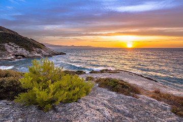 Wall Mural - Sunset over Mediterranean sea