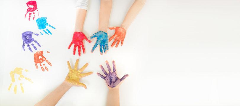 Close children's hands painted