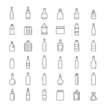Bottle, packaging collection - vector icons set