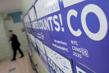 Census signage is seen at an event where U.S. Rep. Alexandria Ocasio-Cortez (D-NY) spoke at a Census Town Hall at the Louis Armstrong Middle School in Queens, New York City