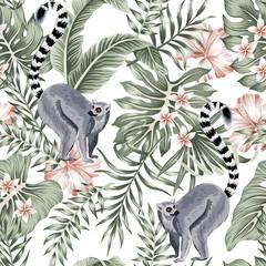 Tropical vintage animal lemur, plumeria hibiscus flower, palm leaves, banana leaves floral seamless pattern white background. Exotic jungle wallpaper.