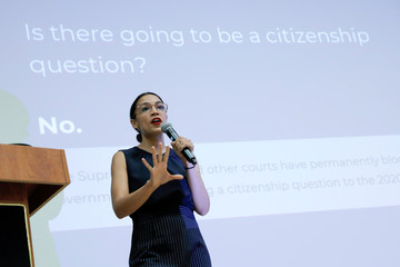 U.S. Rep. Alexandria Ocasio-Cortez (D-NY) addresses a question regarding citizenship while participating in a Census Town Hall at the Louis Armstrong Middle School in Queens, New York City