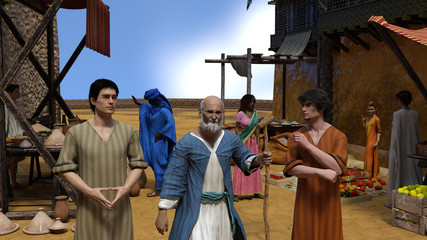 Jesus parable of the prodigal son: And he said, A certain man had two sons. 3D Illustration.
