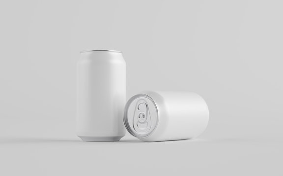 12 oz. / 330ml Aluminium Can Mockup - Two Cans. Blank Label.  3D Illustration