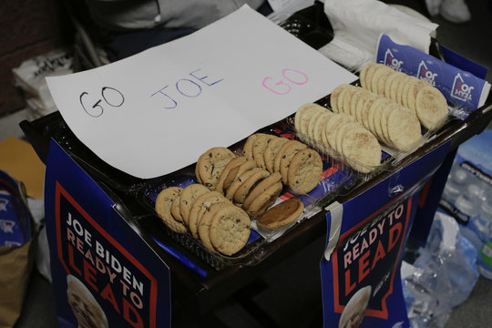 Cookies brought by a supporter of U.S. Democratic presidential candidate and former Vice President Joe Biden sit on a table at a Nevada Caucus voting site Henderson