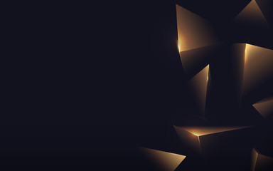 Wall Mural - Abstract polygonal pattern luxury gold on dark background. Vector illustration