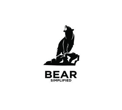 Black bear silhouette logo icon design vector illustration