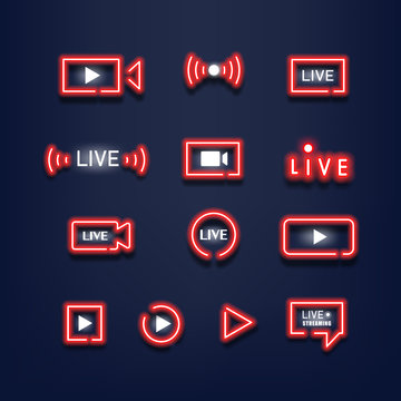 Set of live streaming red neon lights. Neon sign. Music style. Vector illustration.
