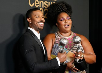 51st NAACP Image Awards – Photo Room– Pasadena - Michael B. Jordan and Lizzo pose backstage with their awards