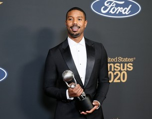 51st NAACP Image Awards – Photo Room– Pasadena - MIchael B. Jordan poses backstage with his Outstanding Actor
